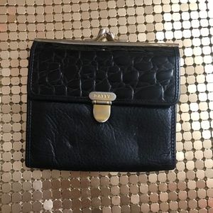 Bally black and gold leather wallet